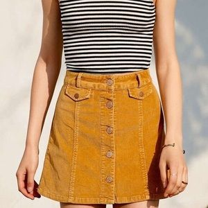 Urban Outfitters BDG yellow corduroy skirt
